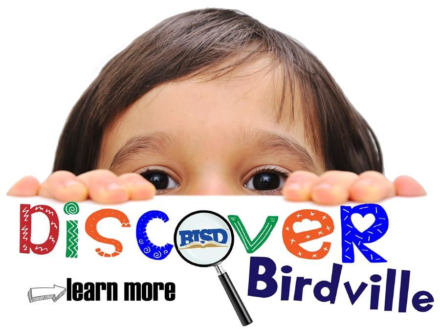boy looking over sign that announces Discover Birdville with learn more option