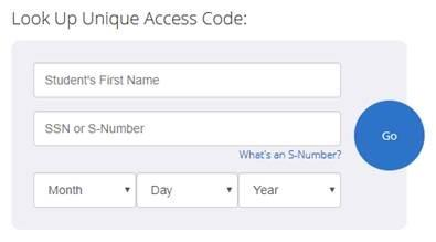 Look Up Unique Access code from Texas Assessment website