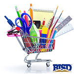 basket of supplies with Birdville ISD logo