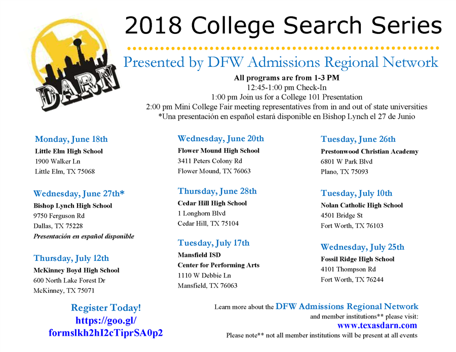2018 DRAFT DARN  College search series graphic