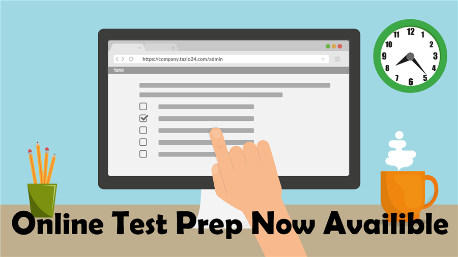 Online Test Prep Announcement Graphic