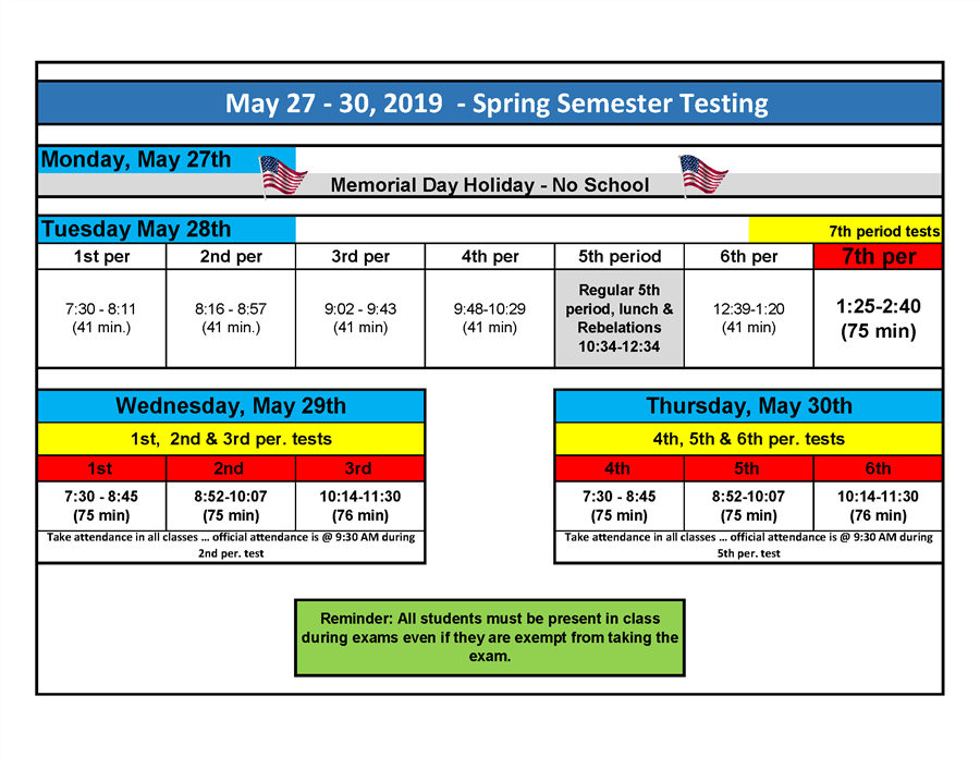 Spring Semester Exam Schedule Click link to download XL File