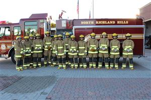 Firefighters Pose with Fire Truck