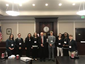 Students With Judge at Mock Trial Competition