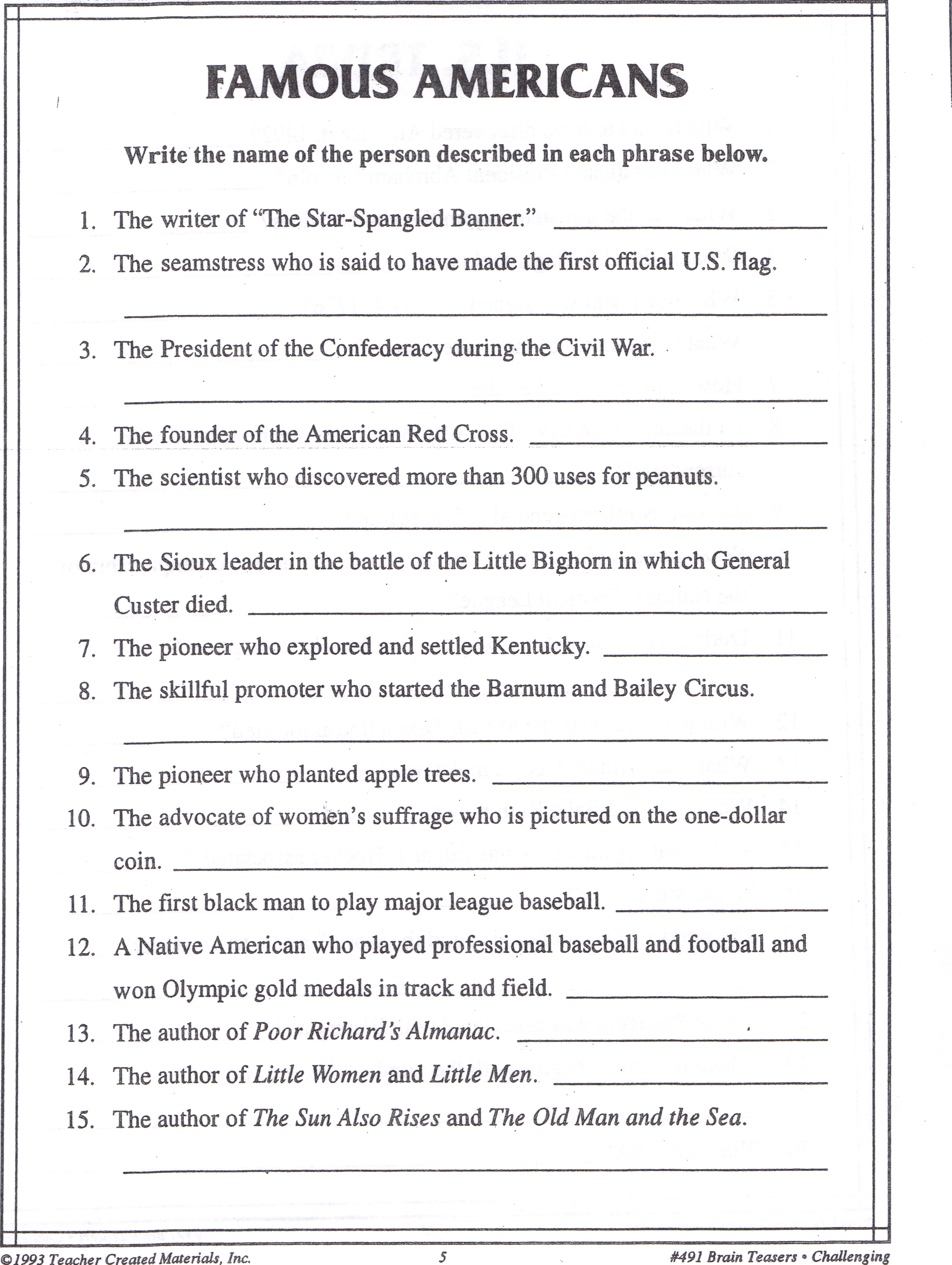 famous americansJPG – Citizenship in the World Worksheet