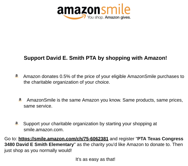 Support David E. Smith PTA by shopping with Amazon!