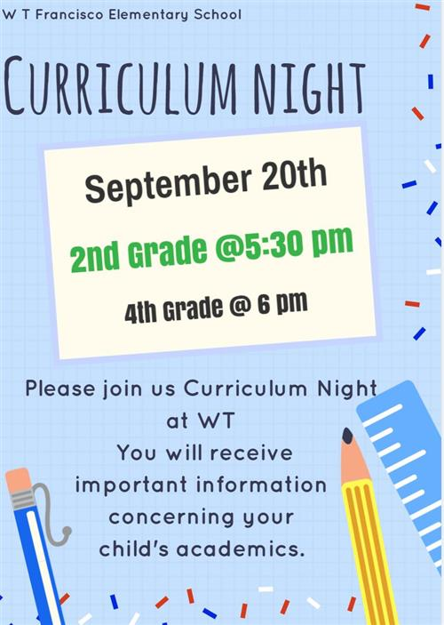 Curriculum Night Sept 20th  2nd and 4th Grade