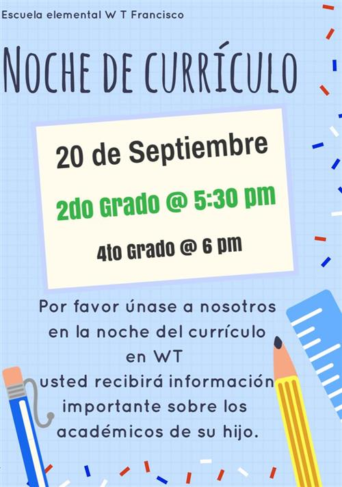 Noche de Curriculo Sept 20 2do and 4to Grado