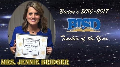 Mrs. Jennie Bridger 2016-2017 Teacher of the Year