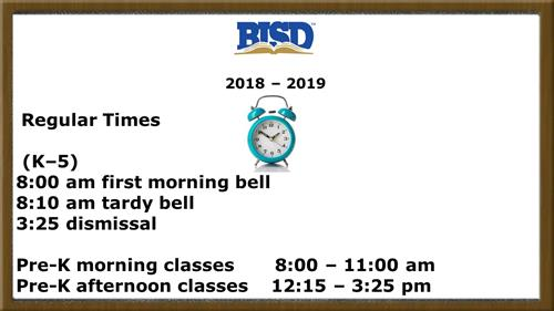 BISD-Jack C. Binion's school hours