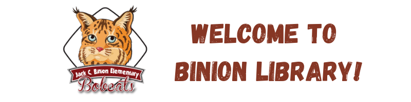 Binion Bobcat Logo and Welcome to Binion Library