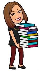 Bitmoji Librarian with books