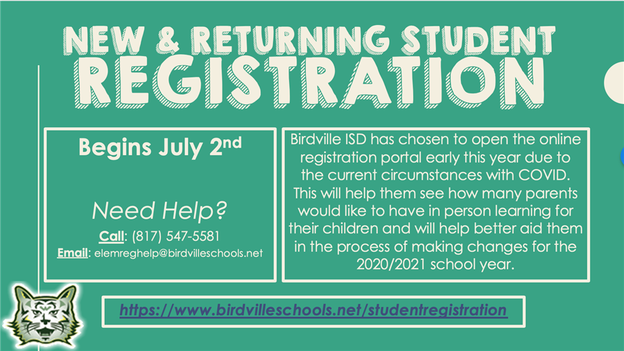 New & returning student registration begins 7/2.  Call (817) 547-5581 for help.