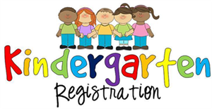 5 kids standing side by side on top of Kindergarten registration words