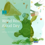 World read aloud day turtle with a megaphone