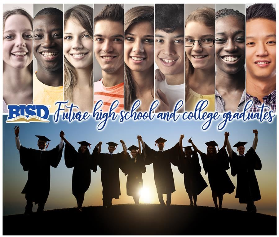 BISD logo - Future high school and college graduates. Image with teenagers and silhouettes of graduates
