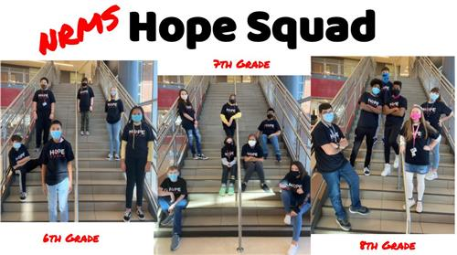 NRMS Hope Squad.  Images of students participating, by grade level.