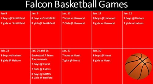 Falcon Basketball Games Jan 8  7 boys @ Smithfield  7 girls vs  Smithfield   Jan. 9  8 boys vs Smithfield 8 girls @ Smithf