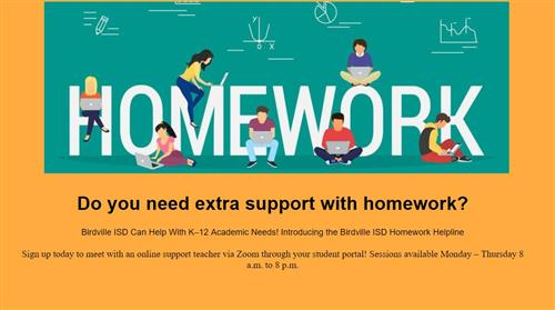 Click for info about Homework helpline available to students