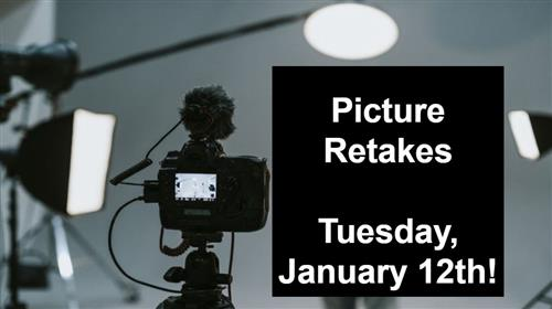 Picture Retakes.  Tuesday. 1-12-21.
