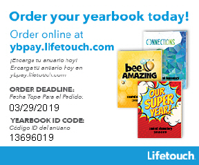 Order your yearbook.  ybpay.lifetouch.com.  deadline 3/29/19. code 13696019.