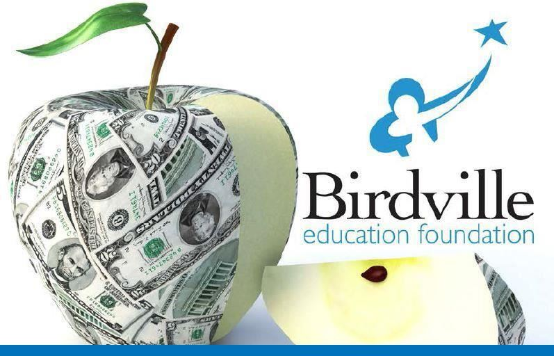 Birdville Education Foundation logo apple with money wrapped around it