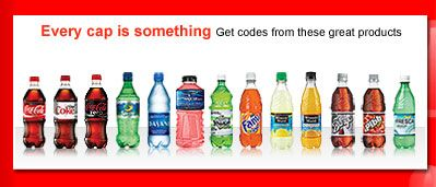 Coke Rewards Logo Every cap is something. Get codes from thee great products