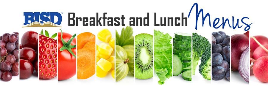 header - BISD Breakfast and Lunch Menus, images of various fruits and veggies