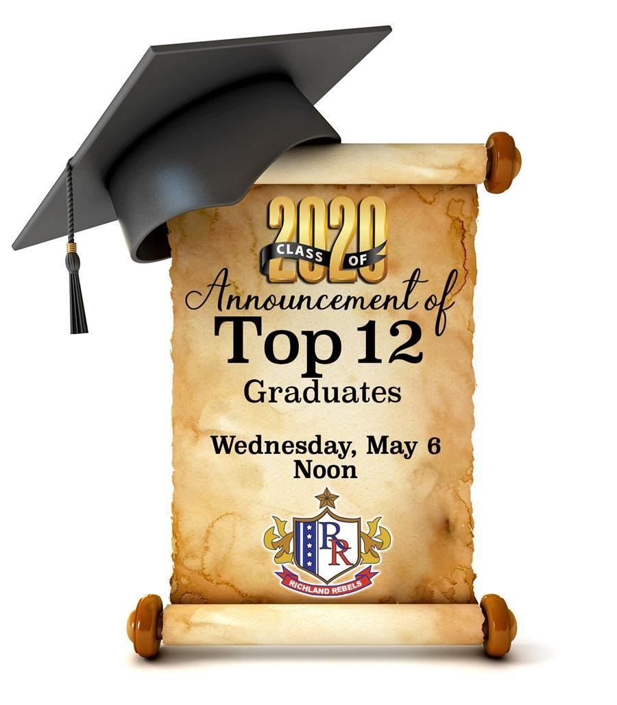 Class of 2020 Announcement of Top12 Graduates - Wednesday, May 6 at Noon