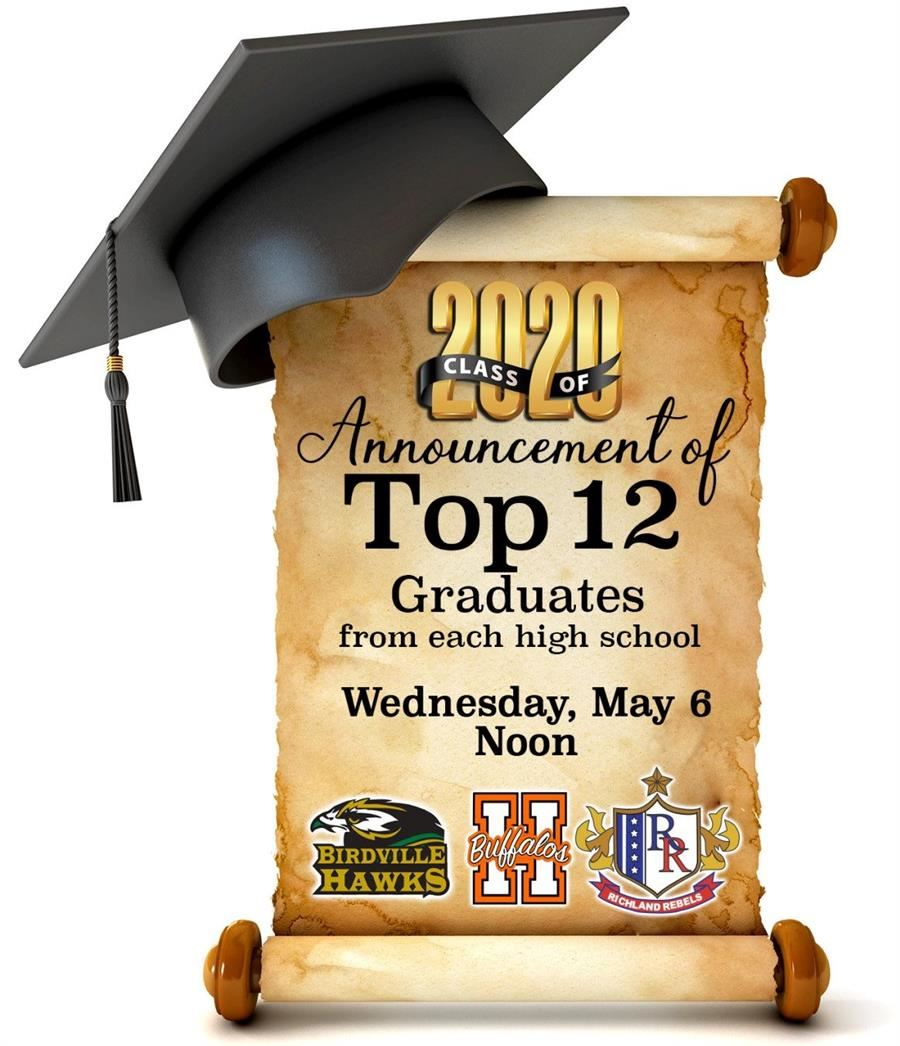 Class of 2020 - Announcement of Top 12 Graduates from each high school | Wednesday, May 6 at Noon