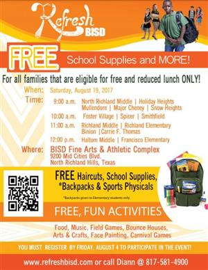 flyer for Aug. 19 Free School supplies