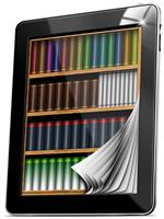 ipad with Library of books