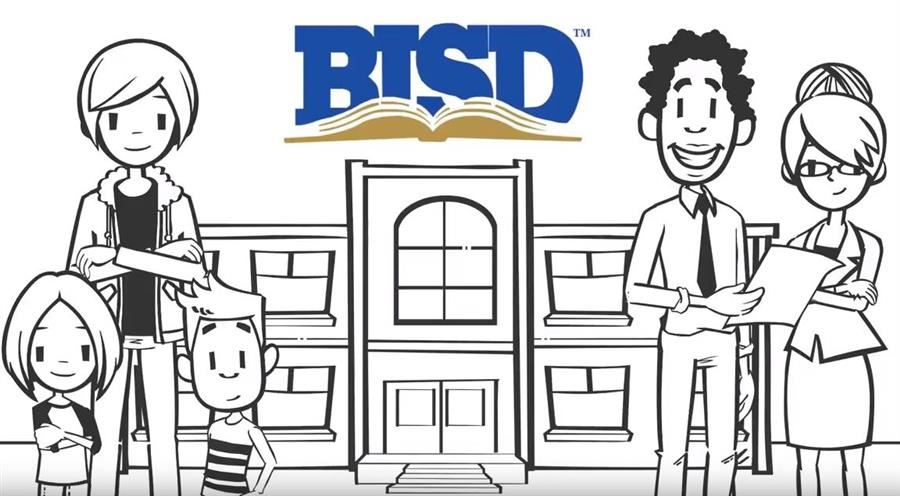 people in front of building with Birdville ISD logo