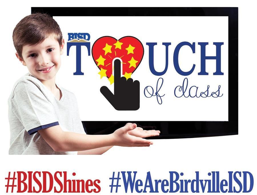 Touch of Class logo with boy and screen | #BISDShines | #WeAreBirdvilleISD