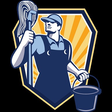 Worker with a Mop and Pail