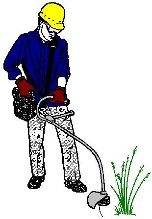 Worker Weedeating