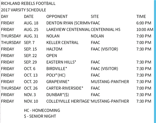 Richland Rebels Varsity Football Schedule