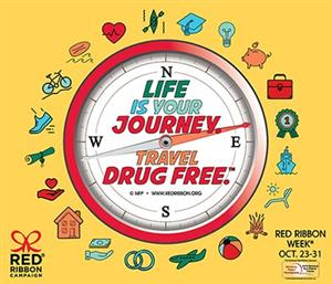 Red Ribbon Comp with Compass Life Is Journey Travel Drug Free theme