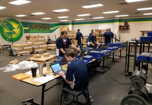 Computer Technicians deploying Chromebooks to Birdville High Schools