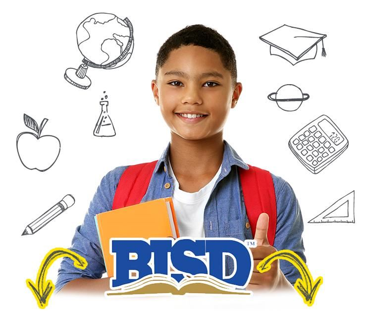 young male with thumbs up about Birdville ISD with arrows pointing down