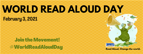 world read aloud day banner with turtle and megaphone and books