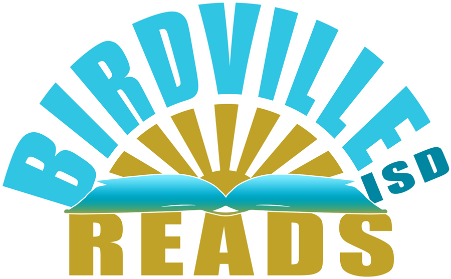 Birdville Reads dual color sunburst logo