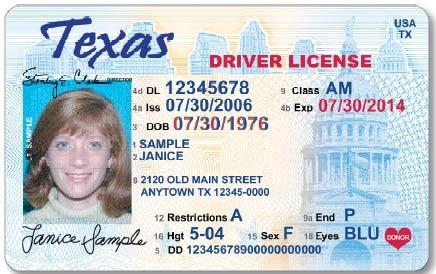 image of sample Texas drivers license