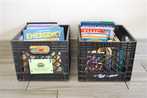 Laundromat book crates
