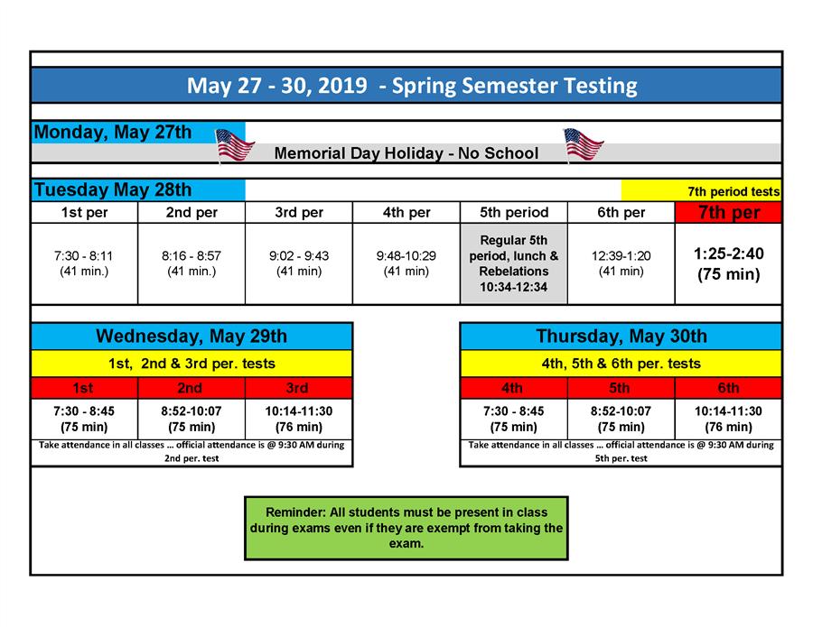 Unt Final Exam Schedule Spring 2019 2019 Spring Semester Exam Schedule / 2019 Spring Semester Exam