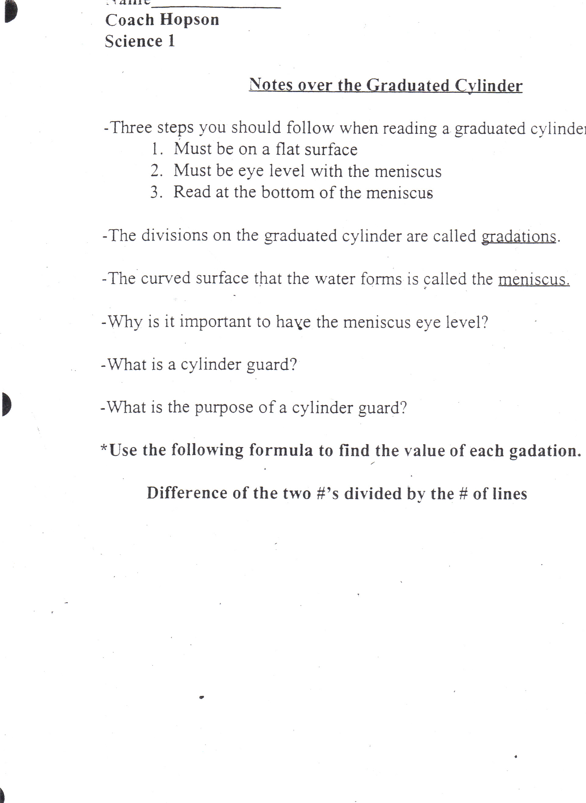 worksheet Symbiosis Worksheet High School hopson fred science reviews and notes graduated cylinder notes