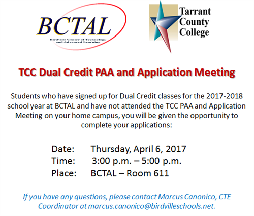 TCC Dual Credit PAA Meeting